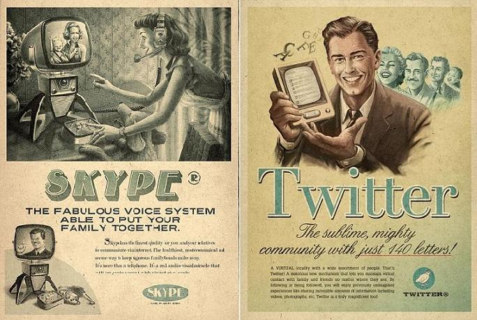 Anuncio retro de Skype e Twitter
