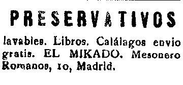 Anuncio Preservativos Diario d Pontevedra Anos 20