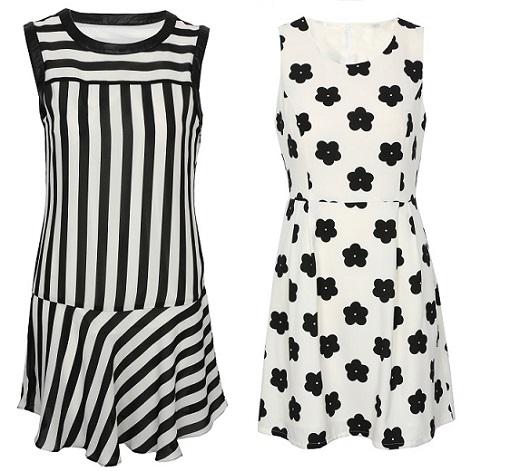 Vestidos en branco e negro