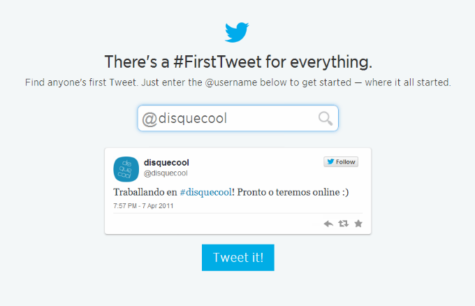 Primeiro Tweet Disquecool