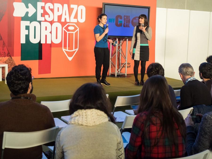 Belén Regueira e Mónica Ares, presentadoras do Off Culturgal 2014