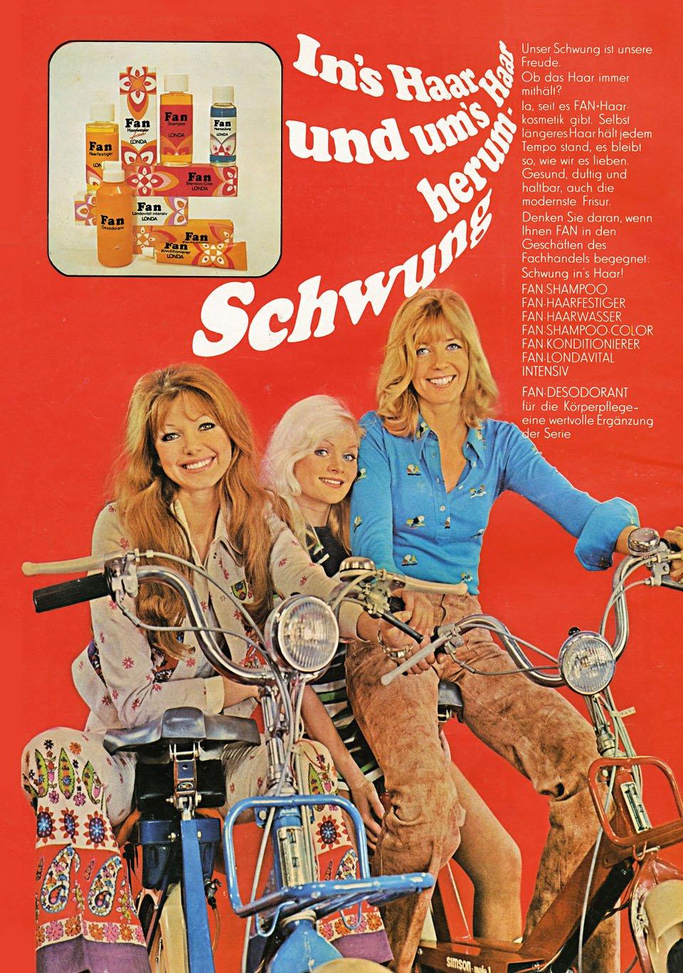 Anuncio para os produtos para pelo Fan, 1973