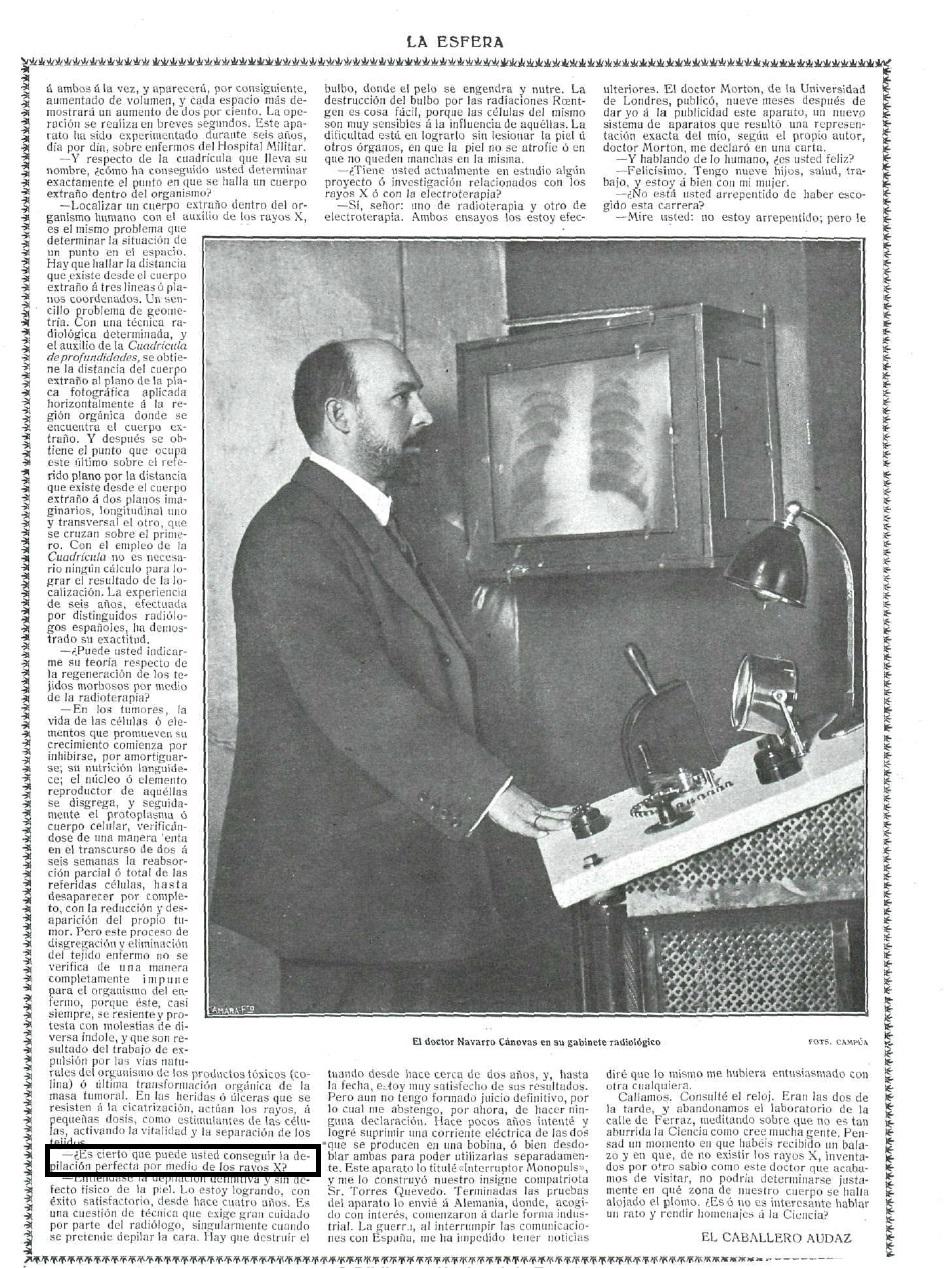 Esta é a segunda páxina dunha entrevista ao Doutor Navarro Canovas en La Esfera, 8 de xuño de 1918